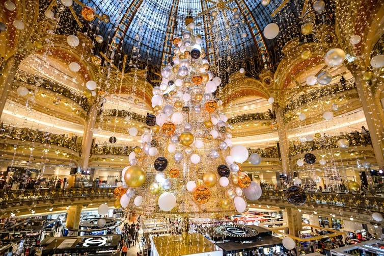Christmas time at the Galeries Lafayette department store in Paris.